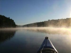 WS Tarpon 160 kayak in the morning mist