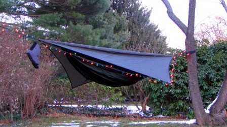 """hammock? Relaxing, huh? Why do folks think of tents when they hear the word """"camping""""? Modern hammocks can serve as light, bug free, weather sound shelters"""
