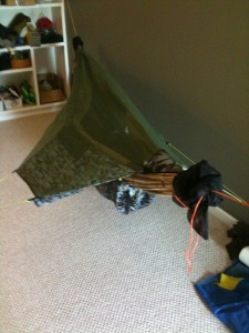 Homemade camping hammock with mosquito net