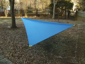 DIY Asymetrical hammock camping tarp: MYOG Side view of Asym hammock camping tarp