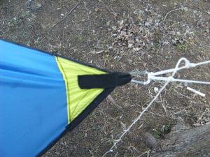 DIY Asymetrical hammock camping tarp: MYOG Ridgeline end corner reinforcement