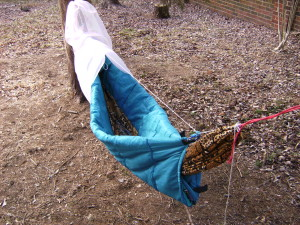 How to make a camping hammock underquilt from a sleeping bag
