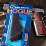 SR1911 .45 Auto Pistol Hogue Grip Installation - Nice looking rosewood grips ready to be replaced with Hogue Automatic Pistol Stocks grip model 45000