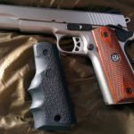 SR1911 .45 Auto Pistol Hogue Grip Installation - stock Ruger rosewood grips ready to be replaced with Hogue Automatic Pistol Stocks grip model 45000