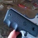 SR1911 .45 Auto Pistol Hogue Grip Installation - the last of 4 screw holes didn't line up at first