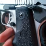 SR1911 .45 Auto Pistol Hogue Grip Installation - magazine release cutout
