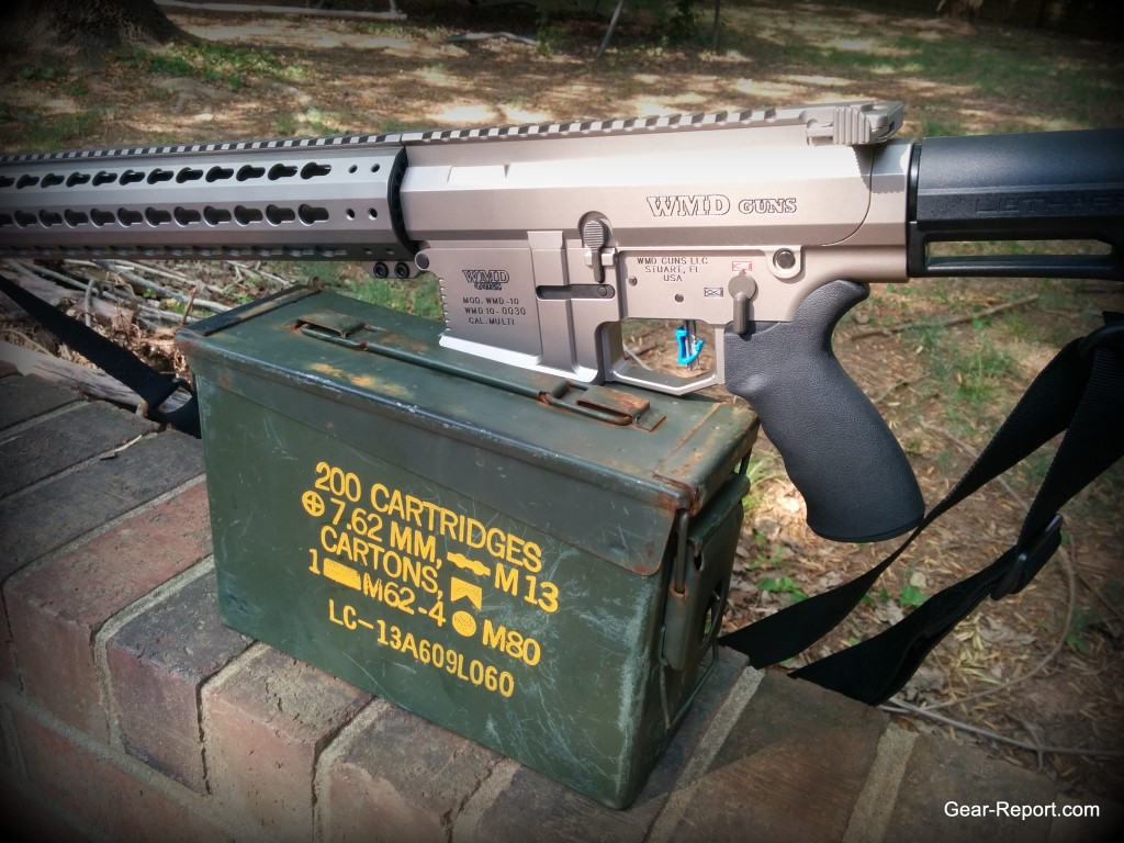 Hiperfire Hipertouch TH24 tarheel 24 trigger upgrade - in the WMD Guns Big Beast AR10 .308 on the wall with ammo