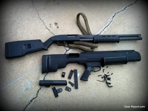 Bullpup Unlimited kit vs Mossberg 500 Magpul Edition. The length difference is noteworthy