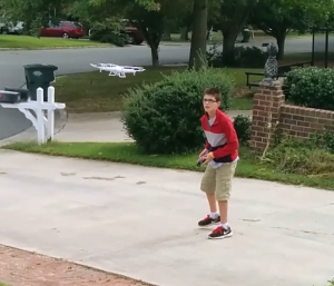 R-man flying the SYMA x5C quadcopter drone