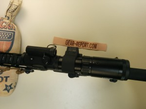 Lucid M7 with Lucid 2-5x magnifier on ADM swing out mount - magnifier deployed