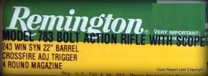 Remington 783 Review 243 Winchester - box