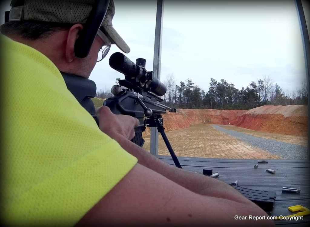 Otis ear shield Jeff shooting Sightmark TDM 5-30 scope on Mosin Nagant sniper rifle