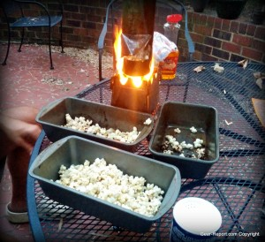 EmberLit wood stove review making popcorn