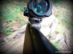 Brass Stacker Scout Scope Mount and L.E.R. Scope for Mosin Nagant - front