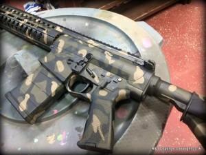 Custom Cerakote Gun camo - R&J Coatings Woodland camo