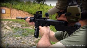 "Meprolight Tru-Dot RDS PRO on 16"" AR-15 upper in .300 BLK on a SlideFire stock"