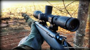 Thompson Center Compass rifle Sightmark TDM 5-30x50 scope - in the deer stand