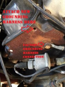 HMMWV engine grounding harness connection point