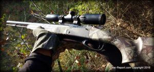 Thompson Center Strike Stiker Fired Muzzleloader Review - in deer stand side