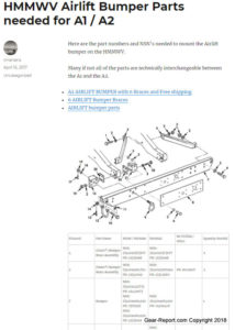 HMMWV Airlift Bumper Parts needed for A1 A2