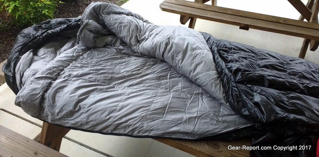 Outdoor Vitals Summit 30 down sleeping bag review - bag unzipped