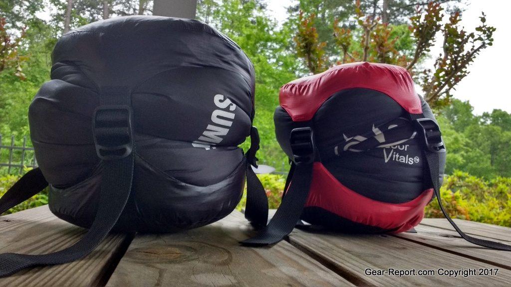 Outdoor Vitals Summit 30 down sleeping bag review - compression stuff sacks